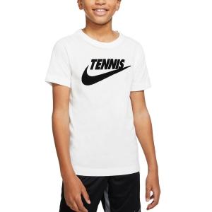Tennis Polo and Shirts Nike Court TShirt Boy  White/Black CJ7758101