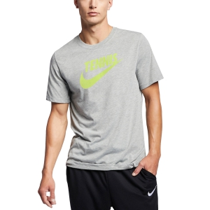 Camisetas de Tenis Hombre Nike Court DriFIT Camiseta  Dark Grey Heather/Volt CJ0429063