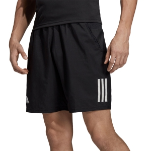 Men's Tennis Shorts Adidas Club 3 Stripes 9in Shorts  Black/White DU0874
