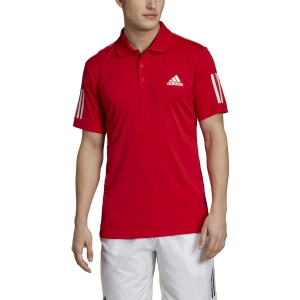 Men's Tennis Polo Adidas Club 3 Stripes Polo  Scarlet EJ7043