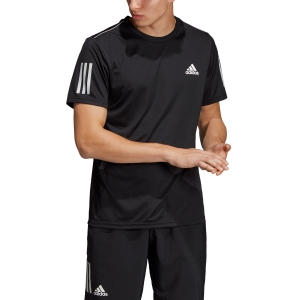 Men's Tennis Shirts Adidas Club 3 Stripes TShirt  Black/White DU0859