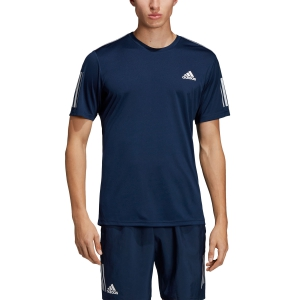 Men's Tennis Shirts Adidas Club 3 Stripes TShirt  Navy DU0858
