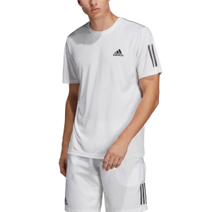 Men's Tennis Shirts Adidas Club 3 Stripes TShirt  White/Black DP2875