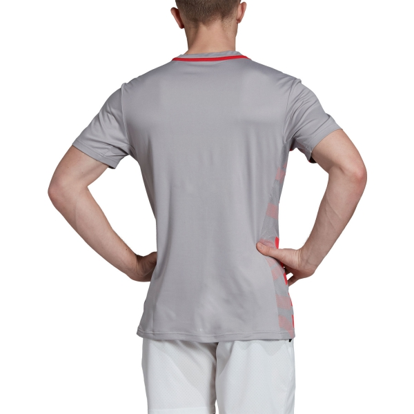 Adidas Escouade T-Shirt - Grey/Fuxia
