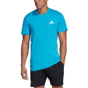 Maglietta Tennis Uomo Adidas Escouade TShirt  Blue/White DW8472