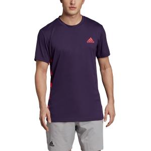 Maglietta Tennis Uomo Adidas Escouade TShirt  Violet/Fuxia DW8470
