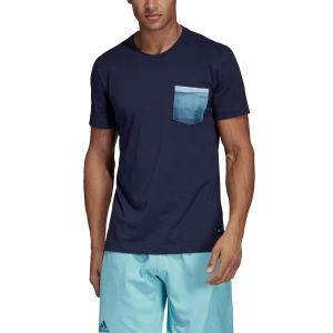 Men's Tennis Shirts Adidas Parley Pocket TShirt  Navy DV2964