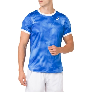 Camisetas de Tenis Hombre Asics Club Graphic TShirt  Blue/White 2041A030.400