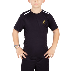 Polos y Camisetas de Tenis Australian Boy Ace Performance TShirt  Black/White 77568200