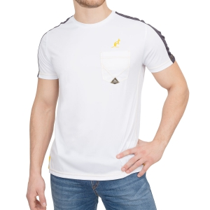 Men's Tennis Shirts Australian for Roy Roger's Ace TShirt  White/Navy/Yellow 78582002