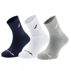 Tennis Socks Babolat Junior x 3 Socks  Navy/Grey/White 5JS17371249