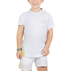 Polos y Camisetas de Tenis Babolat Boy Performance TShirt  White/Yellow 2BS190111025