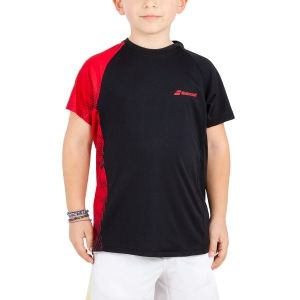 Polo e Shirts Tennis Babolat Boy Performance TShirt  Black/Red 2BS190112010