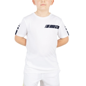 Tennis Polo and Shirts Dunlop Junior Club Crew TShirt  White/Navy 71391