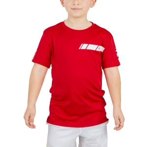Tennis Polo and Shirts Dunlop Junior Club Crew TShirt  Red/White 71392