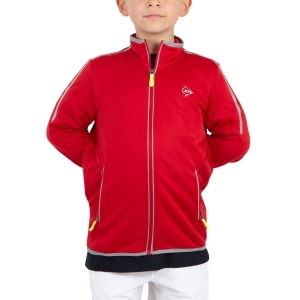 Tennis Jackets for Boys Dunlop Boy Club Knitted Jacket  Red/Silver 71397