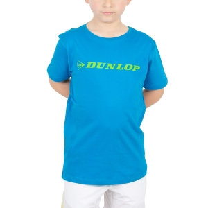 Tennis Polo and Shirts Dunlop Boy Essentials Crew TShit  Light Blue/Green 71446