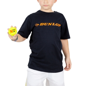 Tennis Polo and Shirts Dunlop Boy Essentials Crew TShit  Navy/Orange 71443