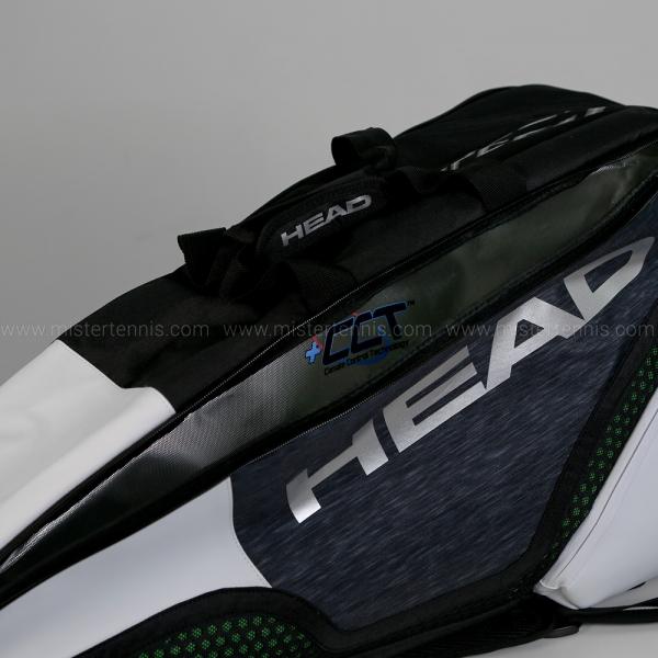 Head Djokovic Speed x 6 Combi Bag - Black/Grey/White