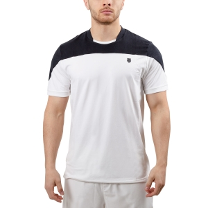 Men's Tennis Shirts KSwiss Hypercourt Block Crew TShirt  White/Black 102357100
