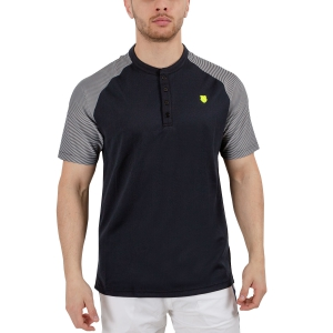 Men's Tennis Polo KSwiss Hypercourt Henley Polo  Black/White 102358008