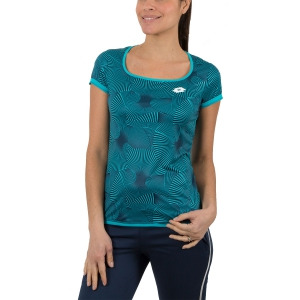 Women`s Tennis T-Shirts and Polos Lotto Tech Printed TShirt  Turquoise/Navy 2103861CP