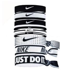 Tennis Head and Wristbands Nike Mixed Ponytail Holder x 9  Black/White N.JN.K8.913.OS