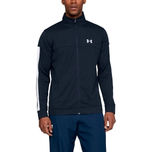 Men's Tennis Jackets Under Armour Sportstyle Pique Jacket  Navy/White 13132040409