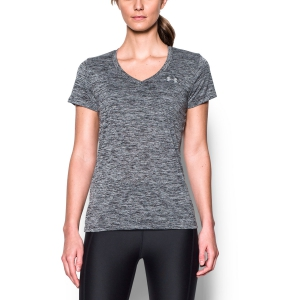 Women`s Tennis T-Shirts and Polos Under Armour Tech Twist VNeck TShirt  Grey/Black 12585680001