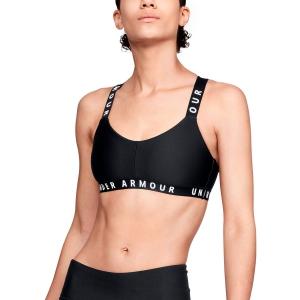 Tennis Women's Underwear Under Armour Wordmark Strappy Sports Bra  Black/White 13256130001