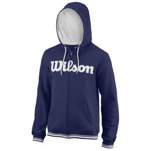 Men's Tennis Shirts and Hoodies Wilson Team Script Full Zip Hoodie  Blue Depths/White WRA765903