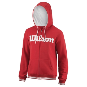 Men's Tennis Shirts and Hoodies Wilson Team Script Full Zip Hoodie  Red/White WRA765904
