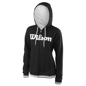 Women's Tennis Shirts and Hoodies Wilson Team Script Full Zip Hoodie  Black/White WRA766701