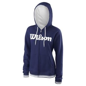 Women's Tennis Shirts and Hoodies Wilson Team Script Full Zip Hoodie  Blue Depths/White WRA766703