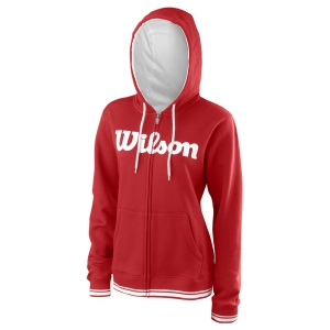 Women's Tennis Shirts and Hoodies Wilson Team Script Full Zip Hoodie  Red/White WRA766704