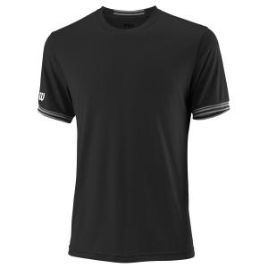 Men's Tennis Shirts Wilson Team Solid Crew TShirt  Black/White WRA765302