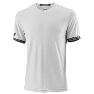 Men's Tennis Shirts Wilson Team Solid Crew TShirt  White/Black WRA765301