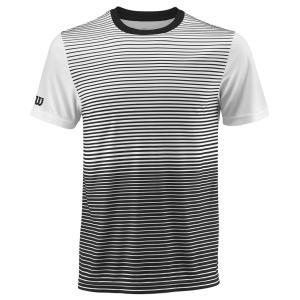 Men's Tennis Shirts Wilson Team Striped Crew TShirt  Black/White WRA769701