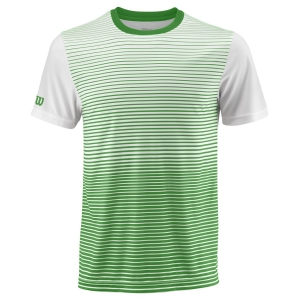Camisetas de Tenis Hombre Wilson Team Striped Crew Camiseta  Toucan/White WRA769702