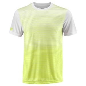 Men's Tennis Shirts Wilson Team Striped Crew TShirt  Safety Yellow/White WRA769705
