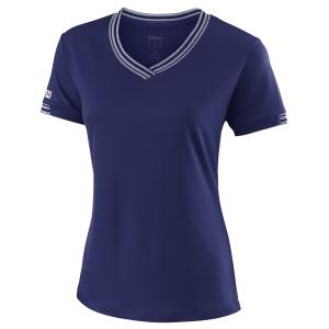 Women`s Tennis T-Shirts and Polos Wilson Team V Neck TShirt  Blue Depths WRA770004