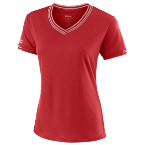 Women`s Tennis T-Shirts and Polos Wilson Team V Neck TShirt  Red WRA770005