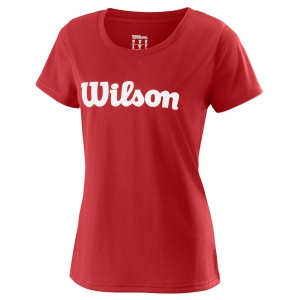 Women`s Tennis T-Shirts and Polos Wilson UWII Script Tech TShirt  Red/White WRA770510