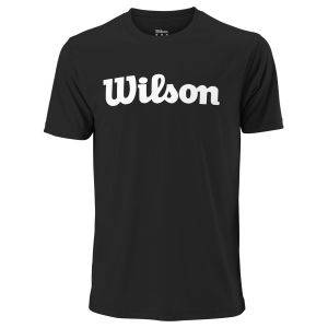Men's Tennis Shirts Wilson UWII Script Tech TShirt  Black/White WRA770306