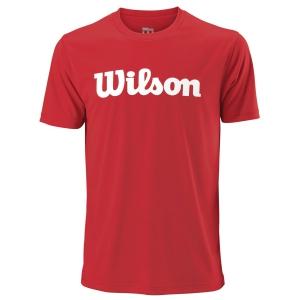 Men's Tennis Shirts Wilson UWII Script Tech TShirt  Red/White WRA770308