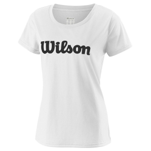 Women`s Tennis T-Shirts and Polos Wilson UWII Script Tech TShirt  White/Black WRA770506