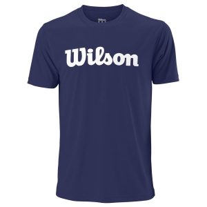 Men's Tennis Shirts Wilson UWII Script Tech TShirt  Blue Depths/White WRA770309