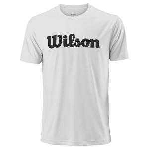 Men's Tennis Shirts Wilson UWII Script Tech TShirt  White/Black WRA770305