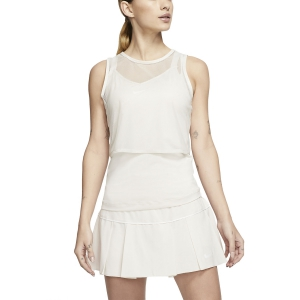 Women`s Tennis Tanks Nike DriFIT Mesh Tank  Light Orewood Brown/White CI9320104