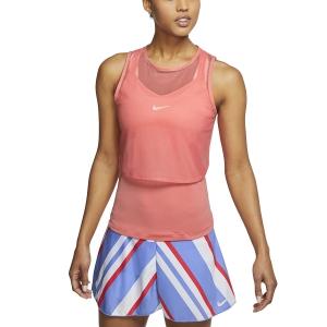 Women`s Tennis Tanks Nike DriFIT Mesh Tank  Sunblush/White CI9320655